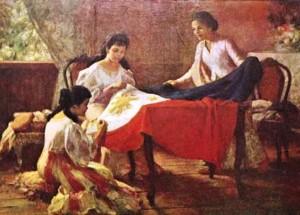 最初のフィリピンの国旗が縫われている様子