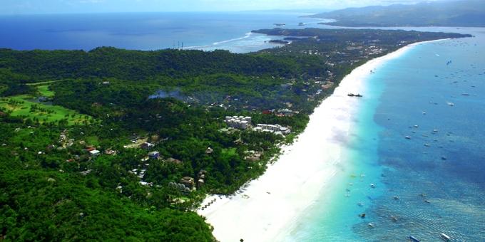 ボラカイ島ホワイトサンドビーチ 空撮 (White Sand Beach @Boracay)