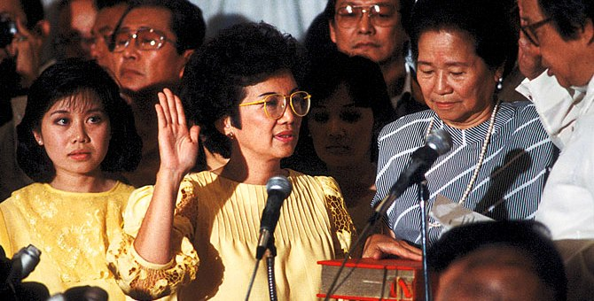 Cory Aquino inauguration - EDSA people power revolution -