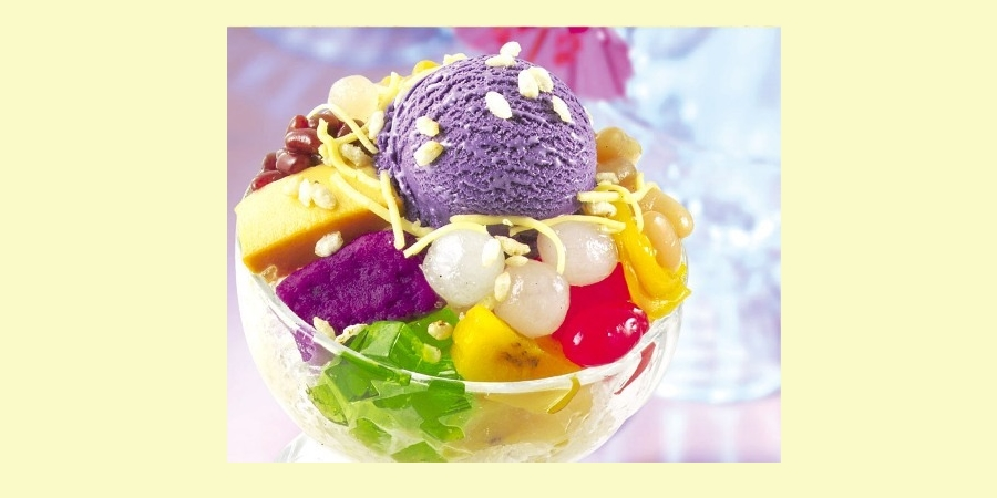 色とりどりのフルーツやゼリー、名物「ウベアイス」などで作るフィリピンのかき氷「ハロハロ」 (Halo Halo)